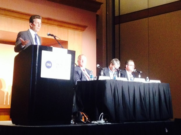 Michael Kovaka introduces panelists at ONA 14.
