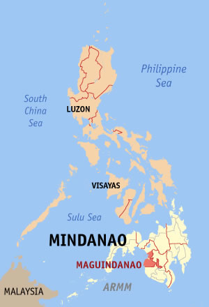 Map of the Philippines.  Maguindinao is in the southern province of Mindanao.  From WikiCommons
