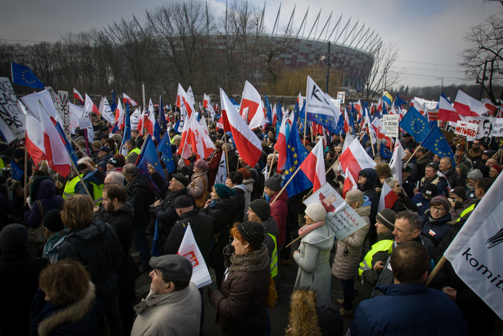 WARSAW, 27 February 2016 - On Saturday over 150 thousand people from all over Poland joined in demonstrations against the current government. The march through the city centre is organised by the committee for the protection of democracy (KOD). Poles have been frustrated by actions seen by many as usurpation of power by the conservative Law and Justice party which won the recent elections.