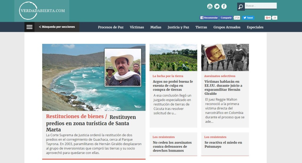 VerdadAbierta's webpage.